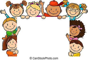 Niños juntos con hoja cuadrada