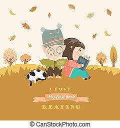 Niños leyendo libros en la pradera de otoño