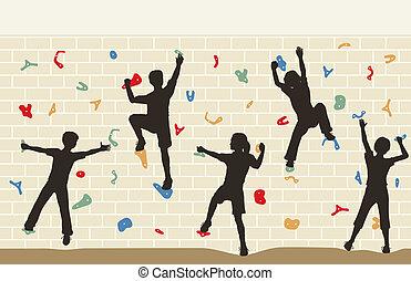 Niños trepando a la pared