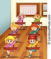 Niños y animales en clase