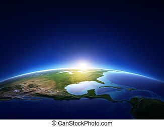 norte, encima, despejado, tierra, américa, salida del sol