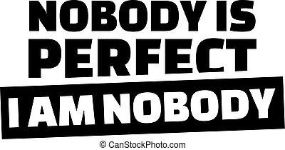 Novody es perfecto. No soy nadie.