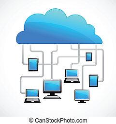 nube, imagen, vector, internet