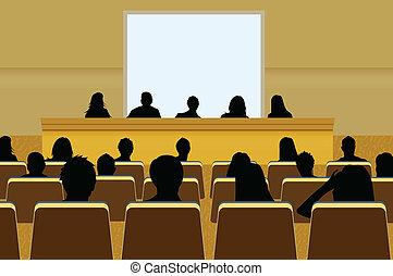 o, agregar, proyección, conferencia, empresa / negocio, texto, screen., multitud, su, presentación, persona, copia, audience., producto, blanco, mercadotecnia, frente
