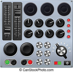 o, mezclar, control, consola