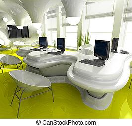 oficina, lugar de trabajo, moderno