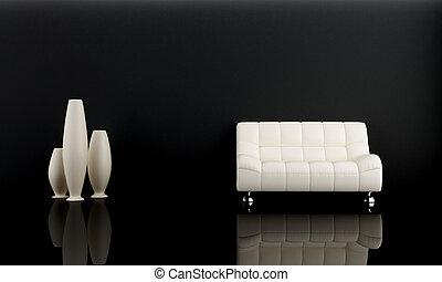 oscuridad, sofá, sitio blanco