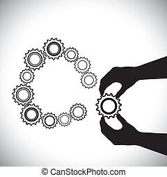 otro, mano, hand(person), esto, contiene, agregado, ser, persona, completion-vector, team(group), ensamblar, porción, rueda dentada, graphic., círculo, ruedas dentadas, ilustración