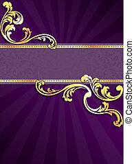 púrpura, bandera, oro, vertical