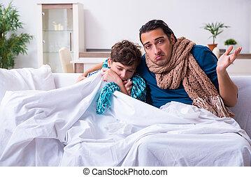 padre, hijo, cuidado, joven, enfermo