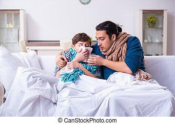 padre, hijo, enfermo, cuidado, joven