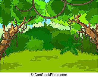 paisaje, bosque, tropical