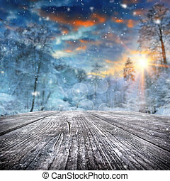 Paisaje de invierno con bosque cubierto de nieve
