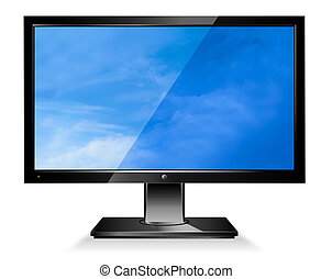 pantalla ancha, monitor de la computadora, plano