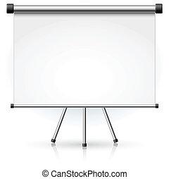 pantalla, blanco, proyección, portátil