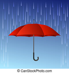 paraguas rojo y gotas de lluvia