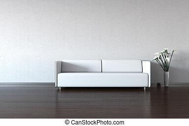 pared, blanco, sofá, florero, minimalism: