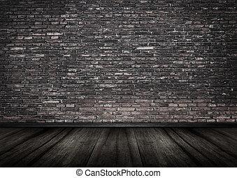 pared ladrillo, grungy, interior, backgrou