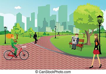 parque de la ciudad, gente