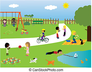 parque, juego, niños