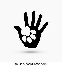 pata, moderno, mano, vector, negro, blanco, asimiento, icono