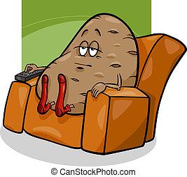 Patata de sofá diciendo dibujos animados