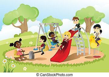 patio de recreo, niños