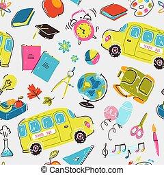 Patrón sin costura con símbolos escolares. Autobús escolar, despertador, mochila, papelería y libros