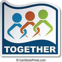 pegatina, vector, unido juntos, gente