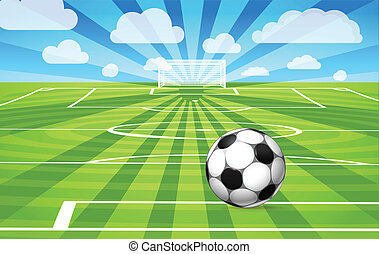 pelota del fútbol, campo, juego, pasto o césped, acostado