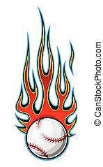 pelota, ilustración, beisball, sofbol, simple, llama, vector