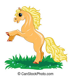 Pequeño caballo amarillo en movimiento