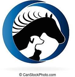 Perro de caballo y logotipo de gato