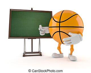 Personaje de baloncesto con pizarra en blanco