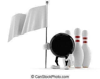 Personaje de bolos con bandera blanca