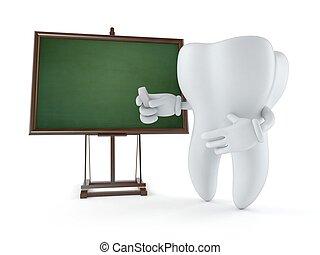 Personaje de dientes con pizarra en blanco