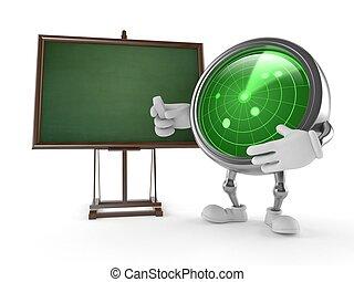 Personaje de radar con pizarra en blanco