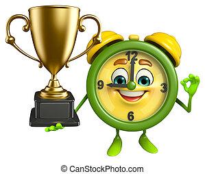 Personaje de reloj de mesa con trofeo