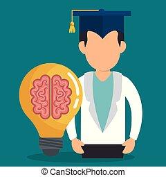 Personaje graduado con iconos educativos