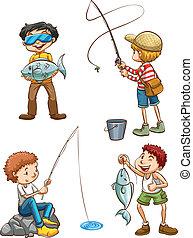 pesca, hombres, bosquejo