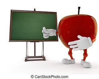 pizarra, blanco, carácter, manzana