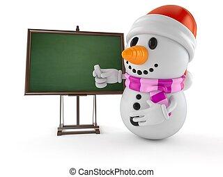 pizarra, carácter, snowman, blanco
