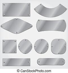 Placas de metal listas, objetos agrupados,