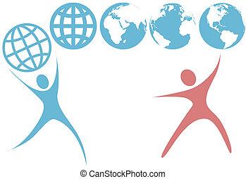 planeta, gente, globo, arriba, símbolos, swoosh, tierra, asimiento