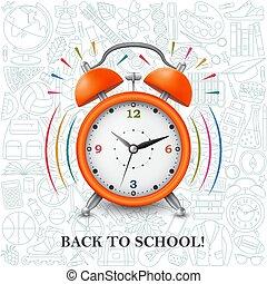 plano de fondo, reloj, alarma, espalda, escuela, patrón