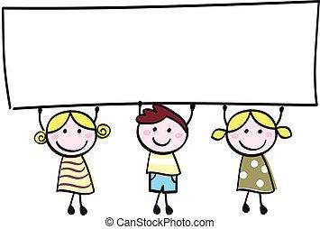 poco, tenencia, bandera, feliz, vacío, lindo, -, niño, niñas, blanco, caricatura, illustration.