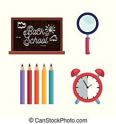 Pon la pizarra con lupa y lápices con reloj