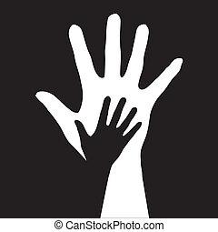 porción, hands.