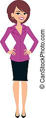 posición, mujer, ilustración