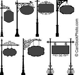 poste, calle, signage, marco, señal